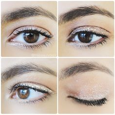 Inner Twinkle, The Gold Line, Lid Sparkle & Ombre... One glitter liquid liner, four ways to rock it by itself this holiday season! Click twice on this picture to see the steps + full face shots for each look!