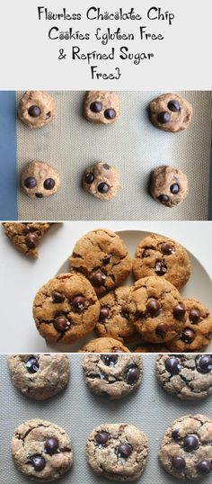 Healthy Flourless Chocolate Chip Cookies are made with coconut sugar, almond flour, almond butter, coconut flour, and some butter or coconut oil! Coconut Sugar, Almond Butter, Coconut Flour, Almond Flour, Healthy Cookie Recipes, Healthy Cookies, Flourless Chocolate Chip Cookies, Grass Fed Butter, Breakfast Cookies