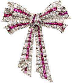 NM Estate Jewelry Collection Estate Edwardian Diamond & Ruby Ribbon Bow Pin