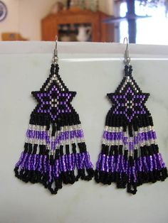 Native American Purple and Silver Star Flower Earrings