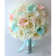 Artificial Silk Flower Wedding Bridal Bouquets Tiffany/Blue/Tiffany Blue/Peach