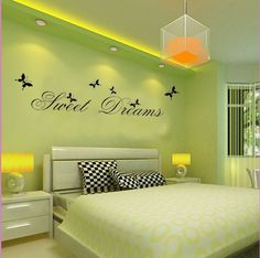 simple and uncluttered Green Bedroom Colors, Green Bedroom Walls, Bedroom Color Combination, Bedroom Wall Colors, Ceiling Design Living Room, Home Room Design, Home Interior Design, Wardrobe Design Bedroom, Bedroom Furniture Design
