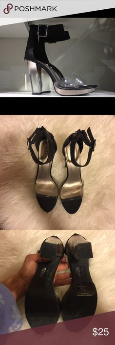 Clear heels Looks a lot like the Jeffrey Campbell heels!! Used a few times. But have lots of life left in them!!! In the last picture you can see the flaws that the shoe has, other then that the shoes are still great. No trades. Use the offer tool. Forever 21 Shoes Heels