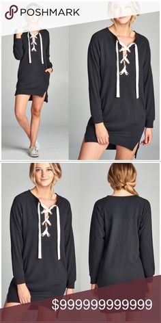 e37b0f6828 Shop Women s WILA Black White size S Mini at a discounted price at  Poshmark. Description  Black Lace-Up Sweater Dress.