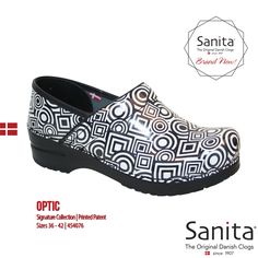 Brand New! Show off your modern side in clogs that feel as good as they look. With a rocker bottom outsole for a more natural stride and easy care patent leather, you can rest assured that your feet will feel completely comfortable all day with the new Sanita Optic! #MySanita #Footwear #Fashion #Shoes #Comfort #Style #Lifestyle #Work #Everyday #Sanita