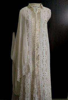 Pure Georgette Chikankari Sharara Suit with Heavy Golden Mukaish (Three Piece)