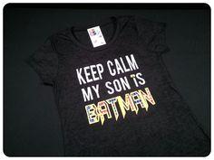 Keep Calm Adult Batman's Mom Applique Shirt - Several Superhero's Mom Choices. $35.00, via Etsy.