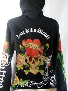 Ed Hardy by Christian Audigier womens black hoddie love kills slowly size L EUC