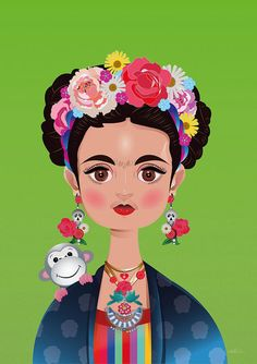 Frida Khalo Art Print by Isabel Salvador. All prints are professionally printed, packaged, and shipped within 3 - 4 business days. Choose from multiple sizes and hundreds of frame and mat options. Fridah Kahlo, Frida Art, Mexican Crafts, Mini Paintings, Tag Art, Fractal Art, Wallpaper Backgrounds, Fine Art America, Modern Art