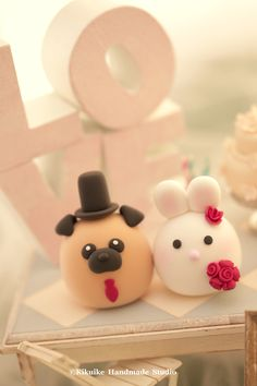 Pug and Rabbit MochiEgg wedding cake topper #bunny cake topper #dog cake topper