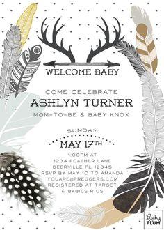 Couple Coed Baby Shower Invitation / Gender by LuckyPlumStudio