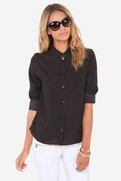Olive & Oak A Speckled Night Black Button-Up Top at LuLus.com!