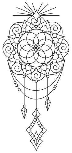 Long believed to contain magical properties ensuring good luck for the possessor, this beautifully draping medallion talisman can adorn your wardrobe, home decor, and more! Downloads as a PDF. Use pattern transfer paper to trace design for hand-stitching.