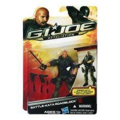 G.I. Joe Retaliation Battle-Kata Roadblock Action Figure by G.I. Joe. $17.81. Multi-weapon battle vest. Figure comes with weapon accessories. Mix and match the pieces in the BATTLE-KATA weapon system to create different weapons. Rough and ready BATTLE-KATA Roadblock figure comes heavily armed. From the Manufacturer                Roadblock®* battles evil Cobra®* enemies with his unique BATTLE-KATA™* fighting system. The G.I. Joe®* leader uses on-the-fly weapon switc...