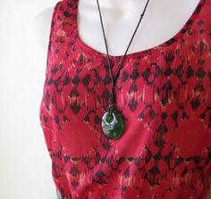 Black/Red Print Bohemian Maxi Dress~Easy, Casual Long Hippie Dress; Medium/Angie #Angie #Maxi