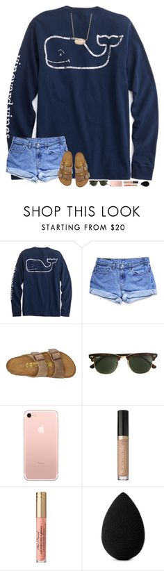 """""""one of my besties is going to spend the night on Friday! rtd for our plans!!"""" by hopemarlee ❤ liked on Polyvore featuring Levi's, Birkenstock, J.Crew, beautyblender and Kendra Scott"""
