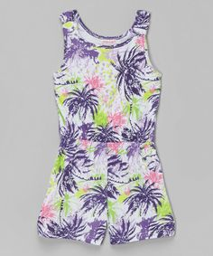 Love this Purple Palm Tree Romper - Girls on #zulily! #zulilyfinds