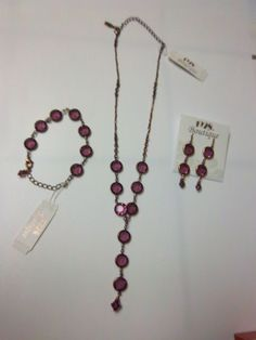 New with Tag 1928 Boutique Purple Swarovski Glass Necklace Bracelet Earrings Set #SwarovskiElementsfor1928Boutique #DropDangle