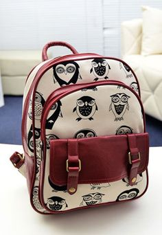 "$41.99  European Style Cute Leisure Owl Print Backpack   Color: Claret/Black  Style: Cute  Material: Canvas  Heat: Owl Print  Weight: 0.83KG  Size: Height: 33CM(12.99"" )  Width: 26CM(10.24"" )  Thickness: 10CM(3.94"" )   Construction: Top handle. Adjustable strap. Zip placket along the top.  Two front pockets. One interior patch and zip pocke..."