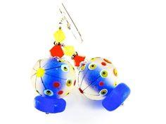 Autism Abstract Lampwork Earrings, Handmade Earrings, Beaded Earrings, Glass Bead Jewelry, Colorful Earrings