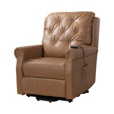 Pilaster Designs   Taupe Vinyl Tufted Design Power Lift Recliner Chair
