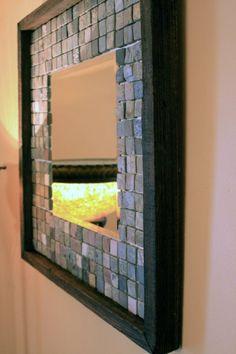 Slate Tile Framed Mirror $175  Pshh I could so make that for a few bucks.
