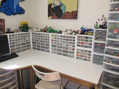 Lego organization - desk and organized small parts. This is a great idea for storage for any hobby with small pieces.