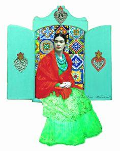 Frida Kahlo Nicho art photofusion available as prints from www.artdecadence.etsy.com