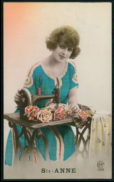 Romance Lady Dressmaker Sewing Machine Fantasy original old 1920s photo postcard