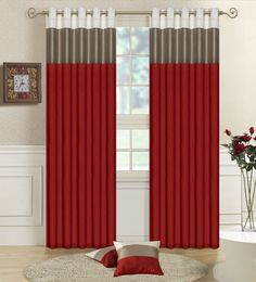 Drop Dead Gorgeous Accessories For Window Treatment Decoration Using Modern Red Curtain: Stunning Image Of Accessories For Window Treatment Decoration Using Grommet Top White Grey Modern Red Curtain Including Single Stainless Steel Curtain Rod And White Living Room Wainscoting ~ fendhome.com Accessories Inspiration