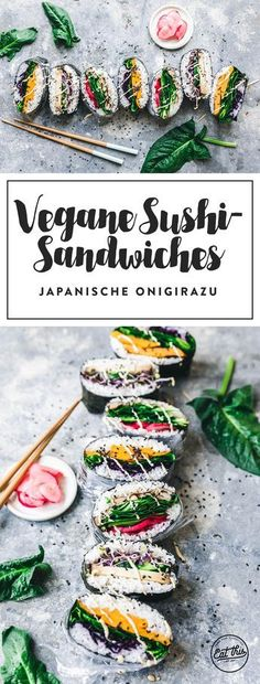 Sushi Sandwiches Onigirazu - recipe At Kochhaus you can currently find great recipes to make your own sushi and to cook many other delicious dishes yourself: www. (Sushi Do It Yoursel Raw Food Recipes, Veggie Recipes, Asian Recipes, Vegetarian Recipes, Healthy Recipes, Vegan Snacks, Healthy Snacks, Vegan Food, Vegan Dishes
