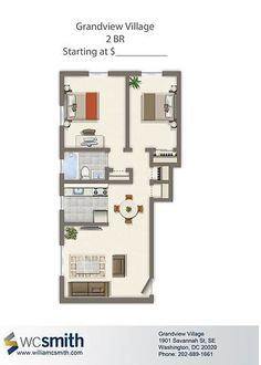 Two Bedroom Floor Plan | Grandview Village in Southeast Washington DC | WC Smith #Apartments | Villages of Parklands #Rentals