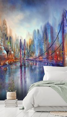 Adorn your wall with colour and vibrancy with this gorgeous On the Road wall mural. The mix of cool blues and warm rusty reds make a beautiful contrast. We think that this abstract city wallpaper would make a dazzling feature wall in any room in the home especially your bedroom. Make the wall the main focal point by placing it on the wall behind your bed with no headboard. This shows off the whole wallpaper beautifully. Style with pastel shades of sage green and white bedding.