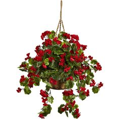 Nearly Natural Geranium Hanging Basket Uv Resistant Indoor/Outdoor -... (11475 RSD) ❤ liked on Polyvore featuring home, outdoors and flower stem
