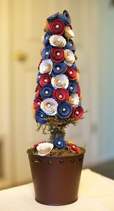 ~ Patriotic Paper Flower Topiary ~   Same idea could be used for Christmas or a wedding.