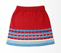 Knitted red & blue cotton mohair short A-line skirt
