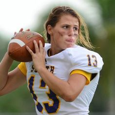 "Erin DiMeglio is a senior at Florida's South Plantation High School. She's 5'4"", 140lbs, and most notably, the third-string quarterback on her school's football team"
