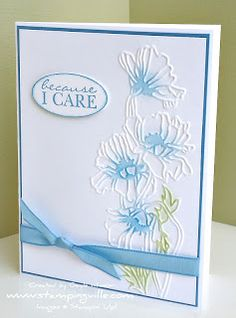 Because I Care Handstamped Greeting Card