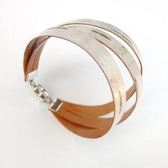 Birch bark cuff three piece bracelet par bettula sur Etsy, $75.00