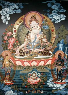 White Tara Thangka Painting.  Universal compassion.
