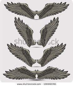stock vector : Wings set. Vector illustration.  http://www.shutterstock.com/similar-108258878/stock-vector-art-deco-eagle-motives.html#