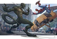 The amazing Spider-man 2 Spiderman vs Lizard art artwork patrick brown