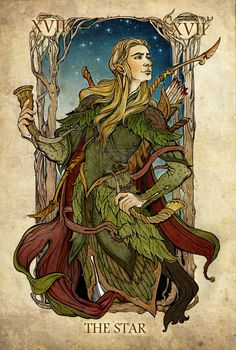 Legolas - The Star, the Lord of the Rings tarot cards by SceithAilm Legolas, Thranduil, Gandalf, Hobbit Art, O Hobbit, Arte Nerd, Tarot Major Arcana, Poses References, Jrr Tolkien