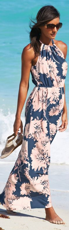 Resort Style, blue floral maxi dress
