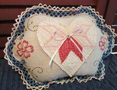 Sweet Handmade Pillow w/ Vintage Linen Embroidery Flowers ~ Antique Quilt Heart