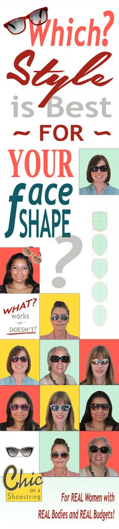 A new series on which sunglasses are most complimentary to YOUR face-shape.  -- > CLICK to get all the articles. #sunglasses #faceshape #ChicOnAShoestring