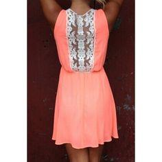 Stylish Scoop Neck Sleeveless Lace Spliced Chiffon Women's Dress