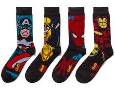 Christmas Stocking Stuffer Gifts for Men & Guys (like your son):  Marvel Superhero 2pr Crew Socks @ Think Geek -- Captain America, Wolverine, Spiderman, and Iron Man