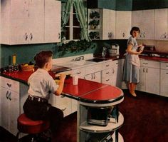 """""""New Kitchen Cabinets"""" 3 """"Better Homes & Gardens"""" January 1951 1940s Kitchen, Vintage Kitchen, 1950s Housewife, Vintage Housewife, New Kitchen Cabinets, Kitchen Refrigerators, White Cabinets, Cupboards, Appliances"""
