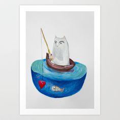 Fishing Art Print by Elena Goatelli - $20.00